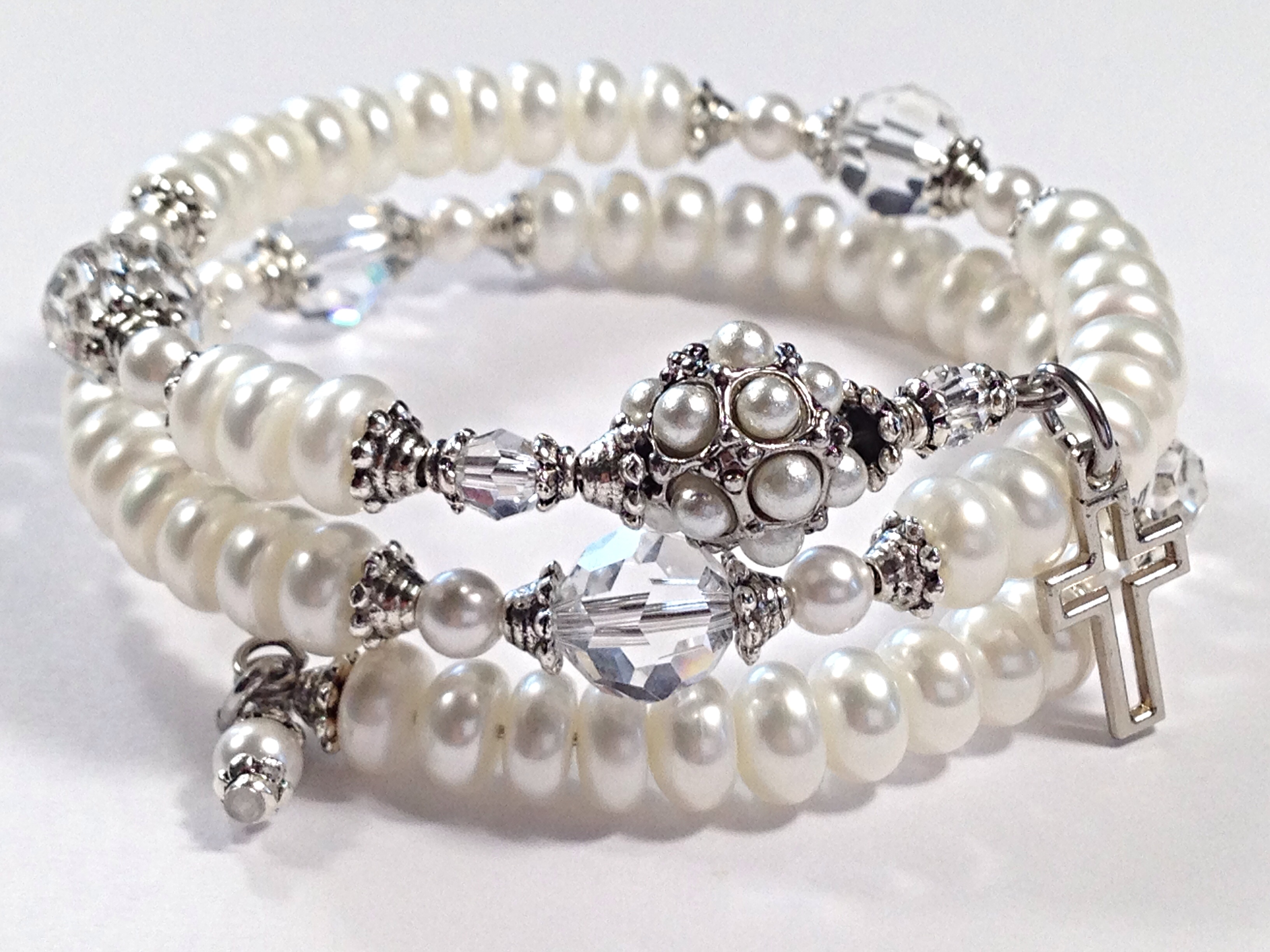 Pearl Rosary Bracelet – White Freshwater Pearls, Clear Swarovsky ...